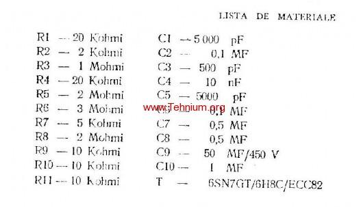 ta - Generator simplu de audiofrecventa - Lista de materiale