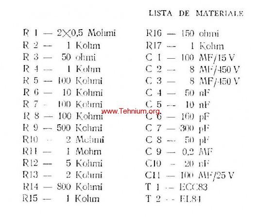 ta - Un amplificator auxiliar pentru reproducerea stereofonica - Lista de materiale