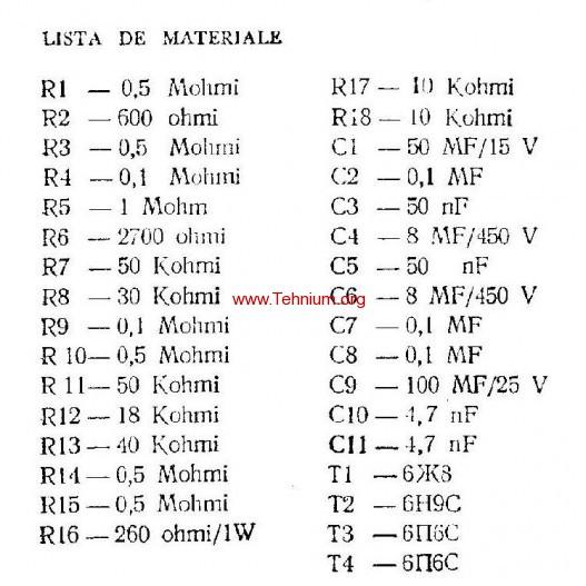 ta - Un amplificator de 14 wati - Lista de materiale