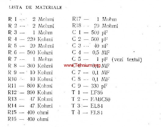 ta - Un amplificator economic de 4 wati - Lista de materiale