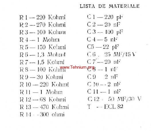 ta - Un amplificator simplu cu un tub - Lista de materiale
